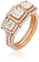 Ella Women Diamonds Ring.Round & Princess Diamonds ( Color), Invisible Setting, 14K Gold (rose-gold, 5)