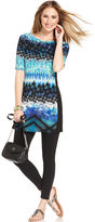 Style&Co. Petite Top, Short-Sleeve Printed Tunic