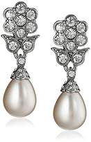 Kenneth Jay Lane Bride Simulated Cream Pearl Crystal Floral Teardrop Dangle Clip-On Earrings