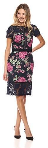 Tadashi Shoji Women's Short Sleeve Neoprene LACE Dress