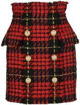 Balmain Tartan Tweed Skirt