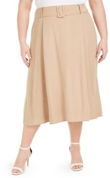 Alfani Plus Size Belted Midi Skirt, Created for Macy's
