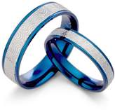 Gemini Men & Women's Two Tone Blue & Silver Couple Anniversary Titanium Ring Set Width 6mm & 4mm Men Ring Size : 6.5 Women Ring Size : 11 Valentine's Day Gifts