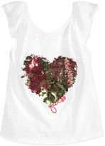 GUESS Cotton Sequin-Heart Top, Big Girls (7-16)