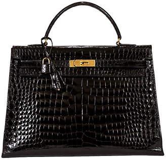 One Kings Lane Vintage Hermes 35cm Black Crocodile Kelly - Vintage Lux