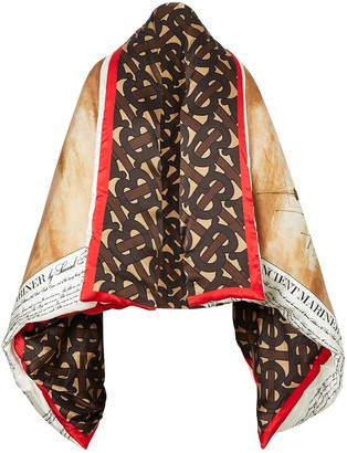 Burberry Mariner print puffer cape