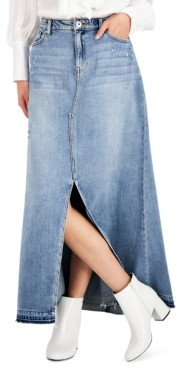 INC International Concepts Inc Cotton Denim Maxi Skirt, Created for Macy's