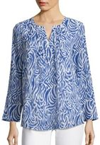 Vineyard Vines Silk & Cotton Zebra-Print Blouse