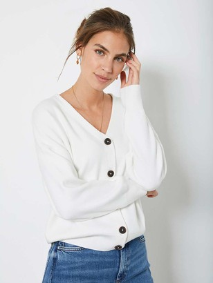 Mint Velvet Button Front Cardigan - Cream