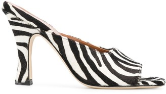 Paris Texas Zebra Pattern High Heel Mules