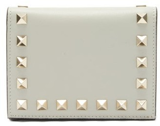 Valentino Rockstud Bi-fold Leather Wallet - Grey