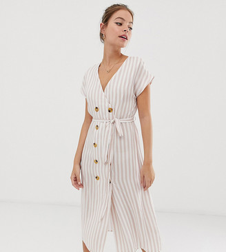 Glamorous Petite belted midi dress with button front in natural stripe