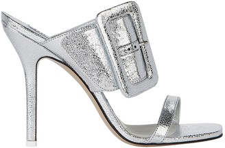 The Attico Mariah Snake-Embossed Buckle Sandals
