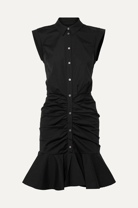 Veronica Beard Bell Ruched Stretch-cotton Poplin Dress - Black