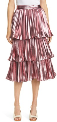 Tanya Taylor Ariana Metallic Pleated Skirt