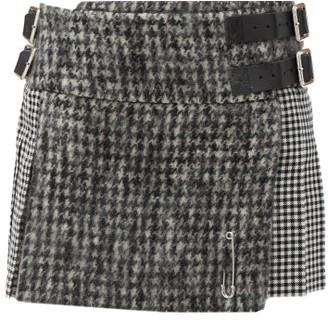 Le Kilt Coco Houndstooth Wool Skirt - Black/white