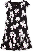 Kate Spade Cap-Sleeve Floral Crepe Flounce Dress, Black, Size 2-6