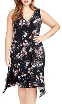 Rachel Roy Plus Size Women's Floral Print Handkerchief Hem Dress