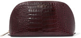 Smythson Mara Croc-effect Glossed-leather Cosmetics Case