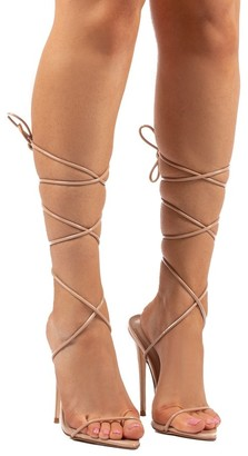 Public Desire Uk Lush Lace Up Strappy Stiletto Heels