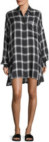 KENDALL + KYLIE Oversized Plaid Button-Front Shirtdress
