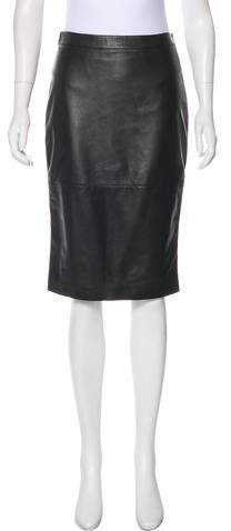 Givenchy Leather & Wool Knee-Length Skirt w/ Tags