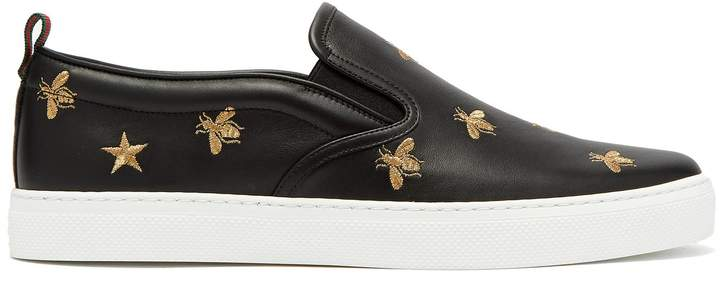 Gucci Dublin embroidered-leather slip-on trainers