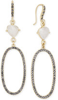INC International Concepts Gold-Tone White Crystal Black Pavé Drop Earrings, Only at Macy's