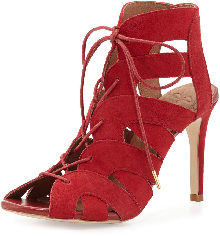 Joie Bonnie Suede Lace-Up Bootie, Red