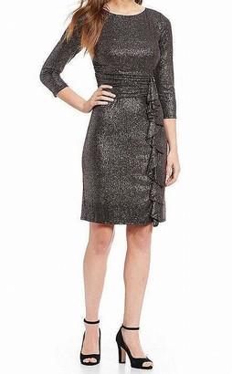 Jessica Howard Women's Sleeveless Ruched Waist Dress with Cascade Ruffle Skirt