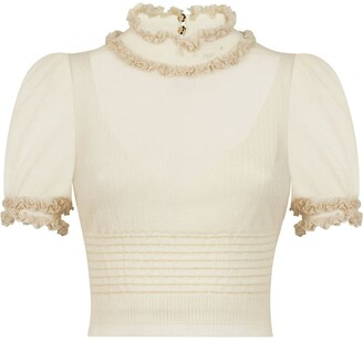 Fendi Ruffle Neck Blouse