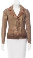 Prada Leather-Trimmed Metallic Jacket