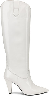 Zeynep Arcay Patent Leather Knee High Boots in White | FWRD