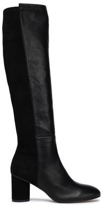 Stuart Weitzman Suede-paneled Stretch-leather Knee Boots