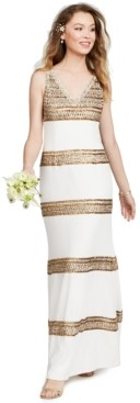 Adrianna Papell Embellished-Stripe Gown