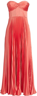 AMUR Belle Strapless Pleated Satin Dress
