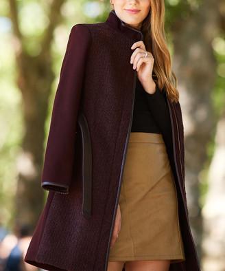 T Tahari Women's Car Coats MERLOT - Merlot Elaine Wool-Blend Trench Coat - Women