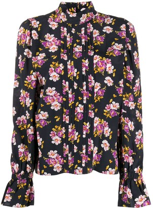 Zadig & Voltaire Floral Pleated Silk Blouse