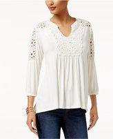 Style&Co. Style & Co Crochet-Trim Bishop-Sleeve Top, Created for Macy's