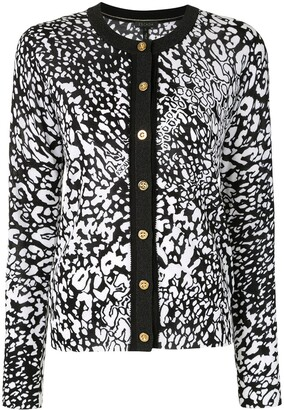 Escada Abstract-Print Round-Neck Cardigan