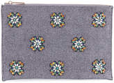 Neiman Marcus Crystal-Embellished Wool Flat Pouch Clutch Bag, Gray