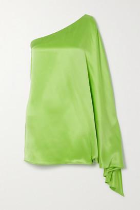 BERNADETTE Linda One-sleeve Silk-satin Mini Dress - Lime green