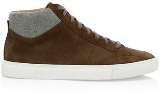 Eleventy Suede & Flannel Mid-Top Sneakers