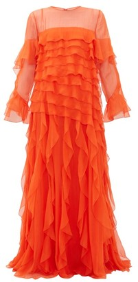 Valentino Ruffled Silk-chiffon Gown - Womens - Orange