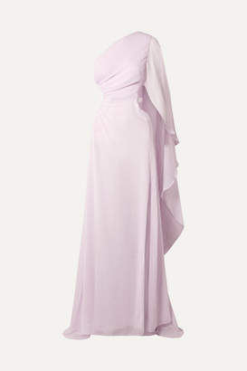 Cult Gaia Cosette One-shoulder Cutout Crinkled-chiffon Gown - Lavender