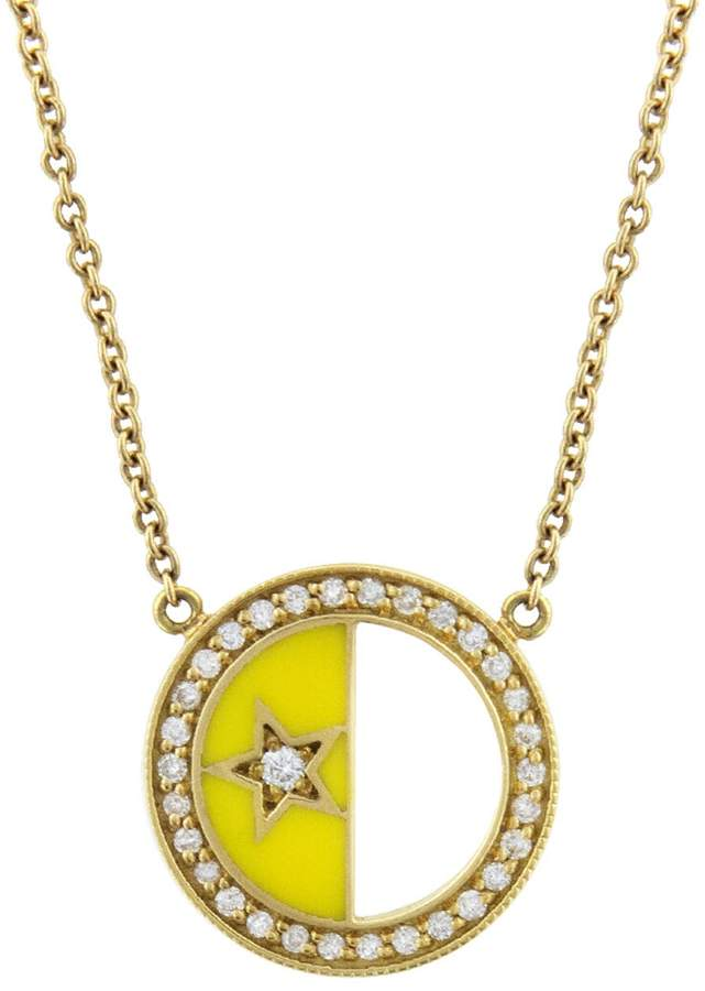 Andrea Fohrman First and Last Quarter Half Yellow Enamel Moon Necklace