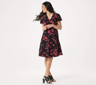 Halston H By H by Regular Watercolor Floral Printed Wrap Dress