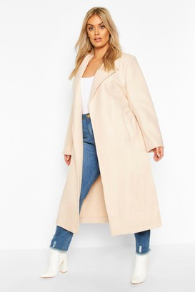 boohoo Plus Oversized Self Belted Long Coat