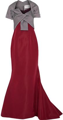 Carolina Herrera Knotted Striped Silk-blend Faille Gown