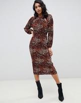 Asos Design DESIGN plisse midi dress with cut outs in leopard print